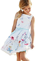 Girl's Birthday Holiday Solid Floral Character Dress,Cotton Sleeveless