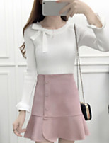 Women's Going out Casual Fall Sweater Skirt Suits,Solid Round Neck Long Sleeves Others