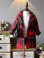 cheap -Girls' Checks Blouse,Cotton Polyester Winter Fall Long Sleeves Casual Red