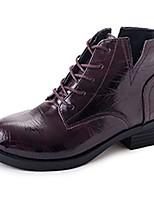 abordables -Mujer Zapatos PU Invierno Botas de Combate Botas Dedo redondo Mitad de Gemelo Para Casual Negro Borgoña