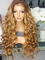 Women Human Hair Lace Wig Brazilian Remy Glueless Lace Front 180% Density With Baby Hair Loose Wave Wig Black/Medium Auburn Short Medium