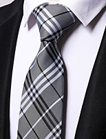 Men's Polyester Necktie,Work Casual Striped All Seasons Gray