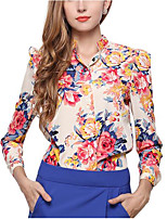 cheap -Women's Daily Work Sexy Street chic Shirt,Floral Crew Neck Long Sleeves Polyester Medium