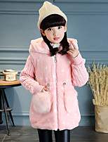 cheap -Girls' Color Block Prints Jacket & Coat,Rabbit Fur Cotton Acrylic Long Sleeves Casual White Red Blushing Pink Khaki