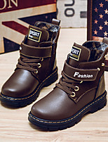 cheap -Boys' Shoes Real Leather Winter Combat Boots Boots Booties/Ankle Boots for Casual Black Yellow Brown Blue