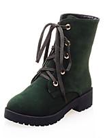 abordables -Femme Chaussures Similicuir Hiver boîtes de Combat Bottes Talon Bas Bout rond Bottes Mi-mollet Pour Décontracté Noir Gris Vert Véronèse