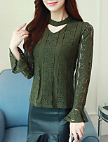 cheap -Women's Daily Going out Active Winter Fall Blouse,Solid Crew Neck Long Sleeves Polyester Medium