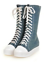 Недорогие -Для женщин Обувь Деним Весна Осень Удобная обувь В ковбойском стиле Ботинки Круглый носок Сапоги до середины икры Назначение Повседневные