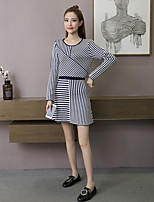 Women's Going out Simple Winter Sweater Skirt Suits,Stripe Round Neck Long Sleeve