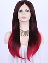 cheap -Red Long Natural Straight 2 Tones Ombre Burgundy Dark Wine Color with Dark Roots Lace Front Wig for Women Heat Resistant Fiber Hair Half Hand Tied Wig