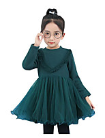 Girl's Holiday Color Block Dress,Cotton Rayon Winter Fall Long Sleeves Active Princess Green Red Light Blue