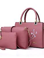 cheap -Women Bags PU Bag Set 3 Pcs Purse Set Embroidery Zipper for Shopping Casual All Season Black Red Blushing Pink Gray