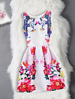 Girl's Birthday Going out Solid Floral Jacquard Dress,Cotton Polyester Sleeveless