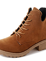 preiswerte -Damen Schuhe Kunststoff Winter Herbst Stiefeletten Springerstiefel Stiefel Booties / Stiefeletten Für Normal Kleid Schwarz Braun