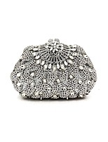 Women Bags Metal Evening Bag Crystal Detailing Sequins for Wedding Event/Party All Season Silver