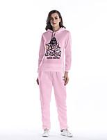 Women's Daily Holiday Street chic Winter Fall Hoodie Pant Suits,Letter Hooded Long Sleeves Polyester
