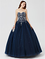Ball Gown Sweetheart Floor Length Satin Tulle Formal Evening Dress with Beading Pleats Sequins by TS Couture®