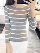 cheap -Women's Daily Going out Cute Sexy Tank Top,Striped Bateau Long Sleeves Cotton Polyester