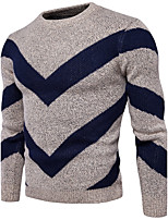 Men's Casual/Daily Simple Regular Pullover,Color Block Round Neck Long Sleeves Cotton Polyester Fall Winter Medium Micro-elastic