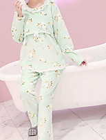 Costumes Pyjamas Femme,Solide Coton Polyester Rose Claire Bleu clair