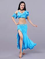 abordables -Danza del Vientre Accesorios Mujer Entrenamiento Fibra de Leche Volantes en Cascada Cintura Baja Faldas Tops
