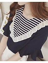cheap -Women's Daily Wear Cute Shirt,Solid Striped Crew Neck Long Sleeves Cotton