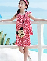 Girls' Polka Dot Clothing Set,Others Summer Sleeveless Cute Black Blushing Pink