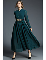 Women's Daily Work Casual Street chic Sheath Chiffon Shirt Dress,Solid Vintage Stand Maxi Midi Long Sleeve Polyester All Season Spring