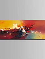Peint à la main Abstrait Format Horizontal,Abstrait 1pc Toile Peinture à l'huile Hang-peint For Décoration d'intérieur
