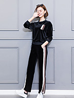 Women's Daily Casual Winter Set Pant Suits,Solid Round Neck Long Sleeves Polyester