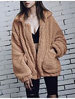Women's Casual/Daily Simple Winter Fur Coat,Solid Shirt Collar Long Sleeves Regular Polyester Others