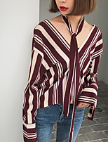cheap -Women's Daily Active Shirt,Striped Color Block V Neck Long Sleeves Polyester