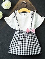 Girls' Solid Clothing Set,Cotton Spring Summer Short Sleeves Cute White