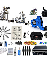 Professional Tattoo Kit 2 steel machine liner & shader 1 rotary machine liner & shader 3 Silver Navy Blue Tattoo Machine Inks Not Included