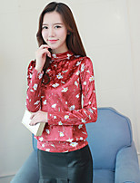cheap -Women's Daily Sophisticated Shirt,Floral Stand Long Sleeves Polyester