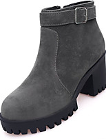 cheap -Women's Shoes PU Spring Fall Comfort Boots For Outdoor Brown Gray Black