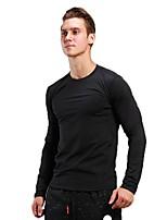 Homens Camiseta de Corrida Manga Longa Treinador Fitness Pulôver para Correr Exercício e Atividade Física Preto/Prateado Cinzento