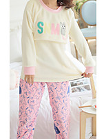 Costumes Pyjamas Femme,Animaux Coton Polyester Rose Claire