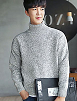 Men's Going out Casual/Daily Simple Short Pullover,Solid Turtleneck Long Sleeves Acrylic Wool Fabric Fall Winter Thick Micro-elastic