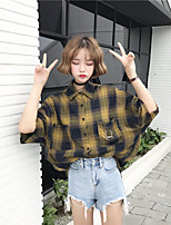 cheap -Women's Daily Cute Shirt,Check Shirt Collar Short Sleeves Cotton