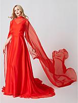 Trapèze Princesse Col Haut Traîne Brosse Mousseline de soie Tulle Soirée Formel Robe avec Plissé par TS Couture®