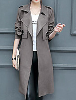cheap -Women's Daily Going out Simple Casual Spring Fall Trench Coat,Solid V Neck Long Sleeve Long Cotton Oversized