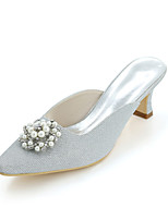 cheap -Women's Shoes Glitter Spring Summer Basic Pump Wedding Shoes Block Heel Square Toe Rhinestone Imitation Pearl For Wedding Party & Evening