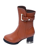 cheap -Women's Shoes Leatherette Fall Winter Fashion Boots Boots Chunky Heel Round Toe Booties/Ankle Boots Buckle For Casual Party & Evening