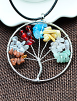 Women's Pendant Necklaces Circle Tree of Life Stone Alloy Natural Handmade Jewelry For Daily Casual