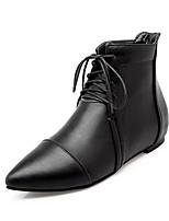 preiswerte -Damen Schuhe Kunstleder Herbst Winter Modische Stiefel Stiefel Spitze Zehe Booties / Stiefeletten Schnalle Für Normal Kleid Weiß Schwarz