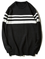 Men's Going out Regular Pullover,Striped Round Neck Long Sleeves Nylon Winter Fall/Autumn Medium strenchy