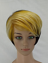 Women Synthetic Wig Capless Short Straight Black/Gold Highlighted/Balayage Hair Layered Haircut Celebrity Wig Natural Wigs Costume Wig