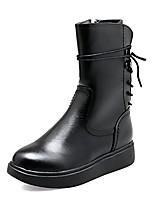 abordables -Femme Chaussures Cuir Hiver boîtes de Combat Bottes Talon Plat Bout rond Bottes Mi-mollet Pour Décontracté Noir