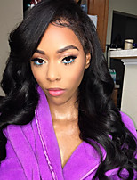 cheap -Women Human Hair Lace Wig Brazilian Human Hair Glueless Lace Front 150% Density With Baby Hair With Ponytail Wavy Wig Black Long Natural